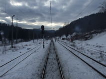 Railway tracks in winter Royalty Free Stock Photos