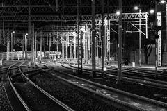 Railway tracks at night. Railway traction network, transport node Stock Photography
