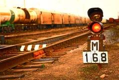Railway traffic light. In Russia Royalty Free Stock Photo
