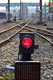 Railway and traffic light Royalty Free Stock Image