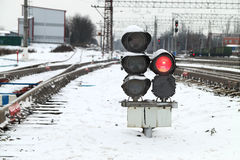 Railway traffic lights Stock Photo