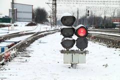 Railway traffic lights Stock Photo