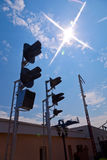 Railway Traffic Lights. Against blue sky background Royalty Free Stock Photos