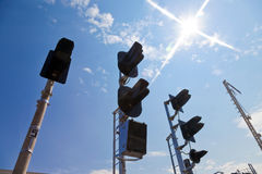 Railway Traffic Lights. Against blue sky background Royalty Free Stock Image