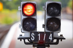 Railway traffic lights Royalty Free Stock Photos