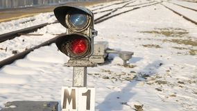Railway traffic is worth the rails into the distance with snow winter Royalty Free Stock Images