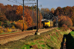 Railway and train. Coming out of the autumn yellow forests Stock Photos