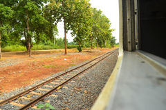 Railway for train. Train railway along with natural view Royalty Free Stock Photos