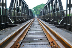 Railway for train. On the bridge Royalty Free Stock Image