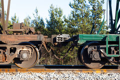 Railway train cars. automatic coupling Stock Image