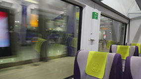 Railway train Heathrow express July 2017 London UK stock video