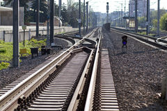 Railway. Train line near station in perspective royalty free stock photography