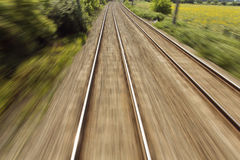 Railway, train lines moving effect Royalty Free Stock Photo