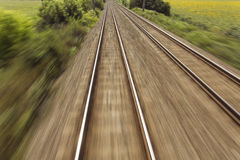 Railway, train lines moving effect Royalty Free Stock Photography