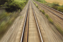 Railway, train lines moving effect Stock Photography