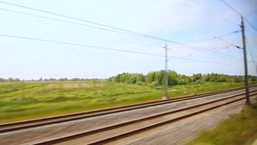 Railway train moving. Speed railroad view. High speed train. Moving train. Railway train moving. View from the window moving train. Summer trip on high speed stock video