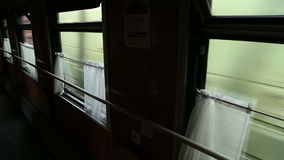 Railway train passes by. Shooting from the train stock video footage