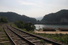 Railway. Train river mountain  Sky good view Royalty Free Stock Photo