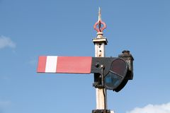 Railway Train Signal. A Vintage Red and White Railway Train Signal Royalty Free Stock Photos