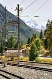 Railway train station and landscape in Zermatt Valais in Swiss. Railway train station and landscape in Zermatt, Valais in Swiss stock photo