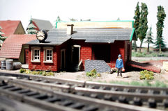Railway train station model. Old railway model, train station royalty free stock photos
