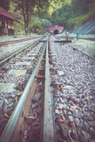 Railway in train station Royalty Free Stock Photo