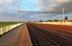 Railway - Train station platform royalty free stock photo