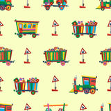Railway train station seamless pattern vector. Royalty Free Stock Image