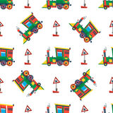 Railway train station seamless pattern vector. Stock Photography