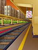 Railway in train station and steam engine. vector illustration