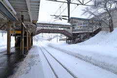Railway. Train station in winter time Royalty Free Stock Photography