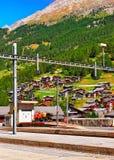 Railway train station in Zermatt CH. Zermatt, Switzerland - August 24, 2016: Railway train station in Zermatt, Valais canton in Switzerland royalty free stock photo