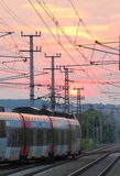 Railway Train in Sunset Royalty Free Stock Image