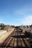 Railway train track houses Royalty Free Stock Image