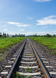 Railway train track lead to desire of the target. With blue sky background Royalty Free Stock Photos