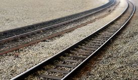 Railway train tracks perspective view Royalty Free Stock Images