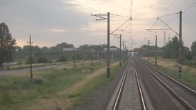 Railway for the Train. A train passing through urban areas, moving railroad tracks stock video