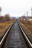 Railway for the train, view of the railway track.  Royalty Free Stock Photo