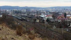 Railway train wagon railroad. 4k stock footage