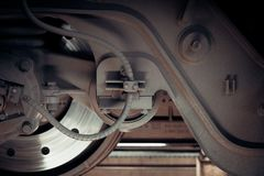 Railway train wheel and brakes Royalty Free Stock Photo