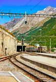 Railway train Zermatt in CH. Zermatt, Switzerland - August 24, 2016: Railway train station of Zermatt, Valais canton in Switzerland stock image