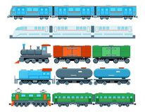Railway trains in flat style Royalty Free Stock Image