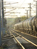 Railway Trains in Golden Light Royalty Free Stock Images