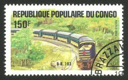 Railway and Trains, Locomotive Bb 103. Congo - CIRCA 1984: Stamp printed by Congo, Multicolor memorable edition offset printing on the topic of Railway and stock image