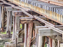 Railway trains track on wooden bridge Stock Photos