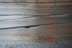 Railway tram tracks in wet asphalt stock photos