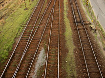 Railway. Tramlines of Railway with Grass Around Stock Images