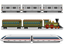 Railway transport collection. Set of three railway transport on white backgrounds Royalty Free Stock Photography
