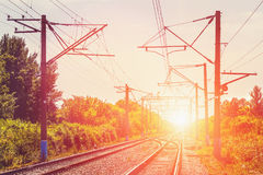 Railway, transport concept. Perspective, sunset, among green trees. And bushes Stock Images