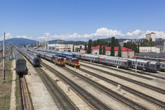Railway , transport hub station Adler, Sochi, Krasnodar region, Russia Stock Image